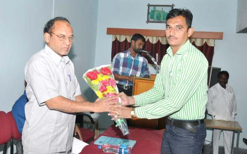Dr. S.S Jadhav  wel-coming  PG Director Dr. Shaker